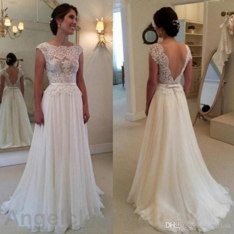 New Lace Wedding Dresses 2018 Scoop Backless A-Line Floor Length Appliques Cheap Bridal Gowns Plus Size Customized Robe De Mariage