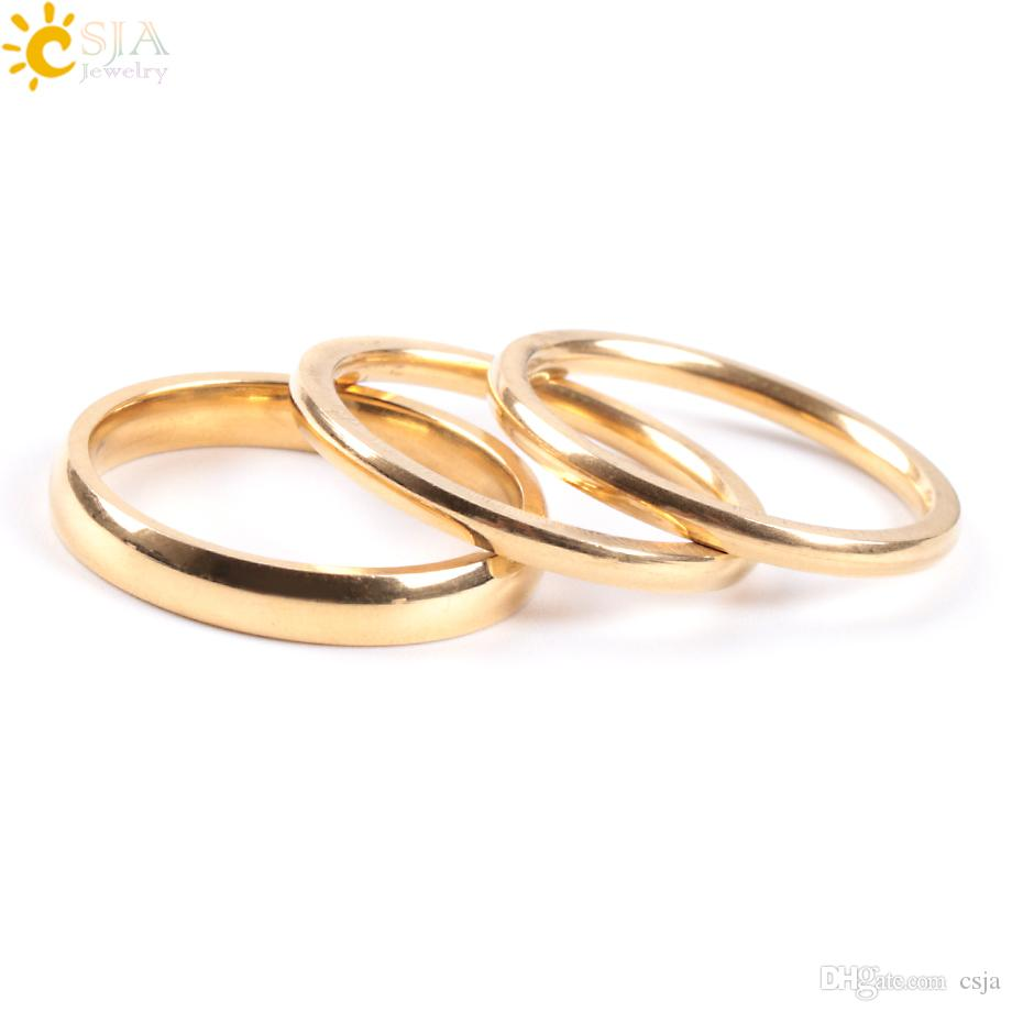 CSJA Women 3 Layers Gold Band Rings Set Rotatable Knuckle Ring Sets for Men Classic Detachable Daily Jewelry Never Fade Fashion Gift E932