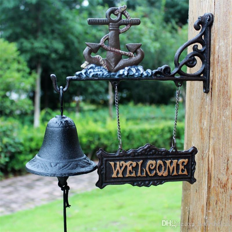 CAST IRON Ship's Anchor WELCOME Dinner Bell Hanging Wall Mounted Garden Patio Boat Beach Sea Anchor Bell Nautical Seashore Hand Door Bell