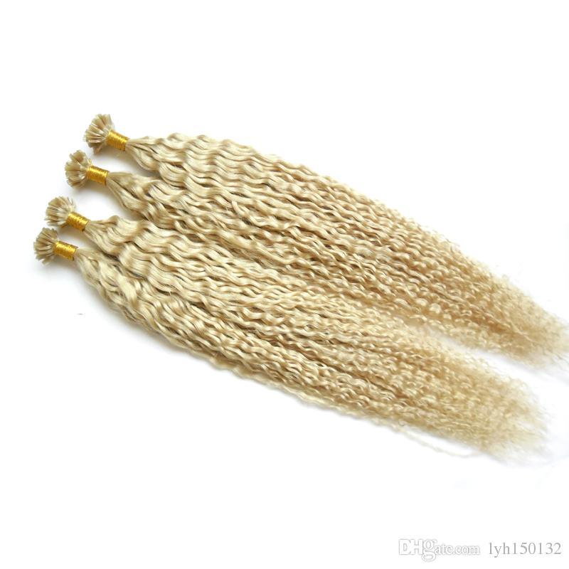 변태 곱슬 200 그램 100 % 진짜 인간의 7A U 팁 머리 확장 100 개 각질 스틱 팁 머리 확장 곱슬 퓨전 머리 확장