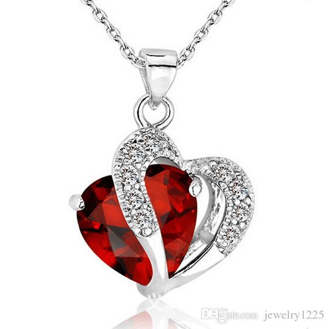 10 pezzi molto più recenti donne di cristallo amore cuore pendenti collane gioielli ragazze signora ametista collana pendente