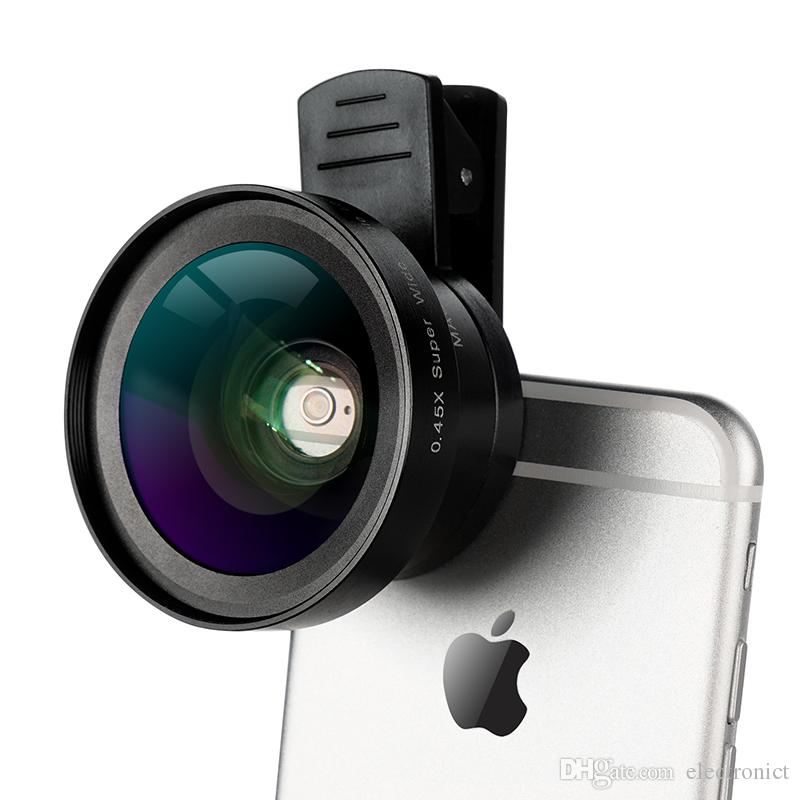2 in 1 HD Phone Len 52mm Calibre 37mm Kit Super 0.45X Wide Angle+15X Macro Clip-on Phone Camera Lens for Smartphone