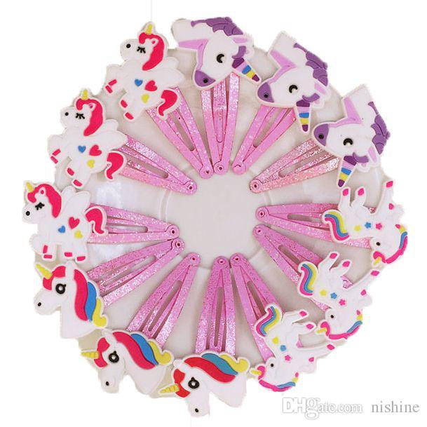 Kız Yeni 100pcs / lot 4 Renk Glitter Unicorn gelgeller Karikatür Hayvan Saç Klipler Sevimli Plastik Tokalar Çocuklar Şapkalar Saç Aksesuarları
