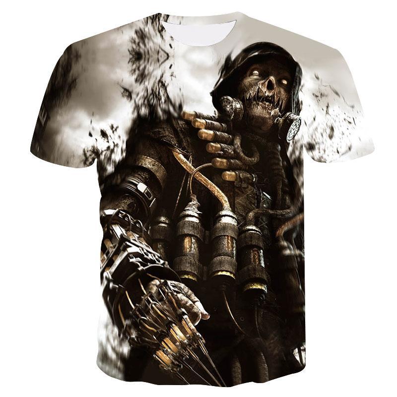 Coole T-Shirt 2018 neue 3D-Schädel-Krieger Mode Double Sided Design Männer T-Shirt Sommer schnell trocknend lässig um den Hals