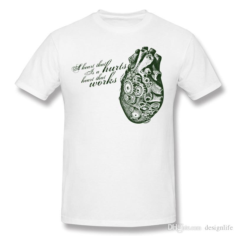 Cheap Homme 100% algodón camiseta Un corazón que funciona Homme Crewneck Red camiseta de manga corta Big Size Street camiseta