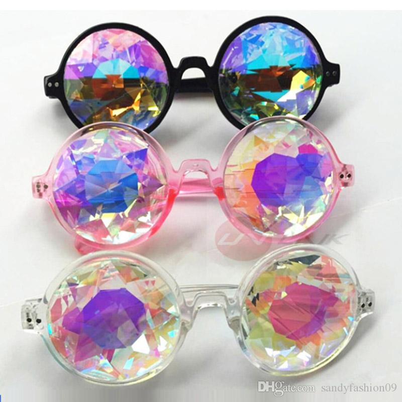 Sunglasses Retro Round Kaleidoscope Fashions New Sunglasses Men Women Designer Kaleidoscope Glasses Cosplay Goggles 3 Colors