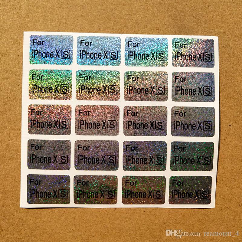 Laser-Aufkleber-Handy-Modell-Aufkleber für iPhone X XS XS MAX Handy-Fall-kundenspezifisches Logo-Digital gedruckte Paket-Aufkleber