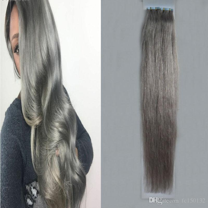"Silver Gray hair extensions tape in human hair extensions 12"" 14"" 16"" 18"" 20"" 22"" 24"" 26"" 100g 40pcs/Set 7a grey tape hair extensions"