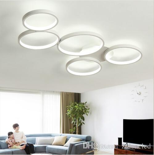 Circulaire LED plafonniers 5 anneaux lustres au plafond Dimmable Plafonnier encastré lampe circulaire pour salon cuisine
