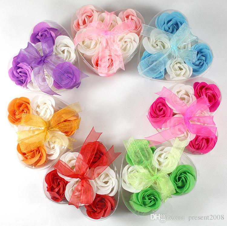 Neues schönes Herz-geformte Bicolor Rose Seifen-Blume (6pcs / box) Badseifenblume Für Romantische Hochzeit Favor Valentinstag Geschenke