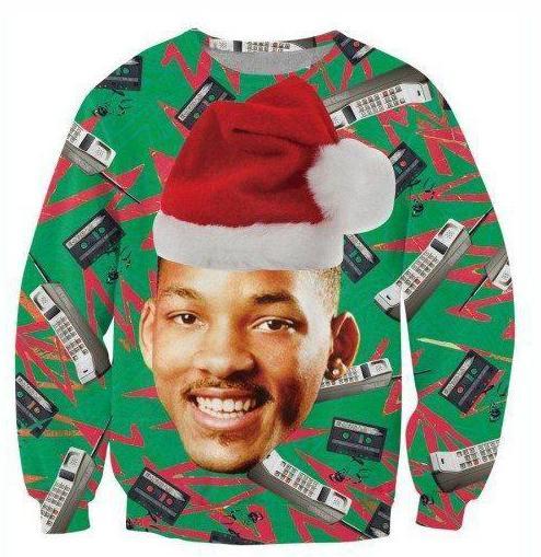 New Fashion Women/Men Fresh Prince With Christmas Hat Funny 3D Printed Sweatshirts Hoody Long Sleeves Tops S---5XL B32