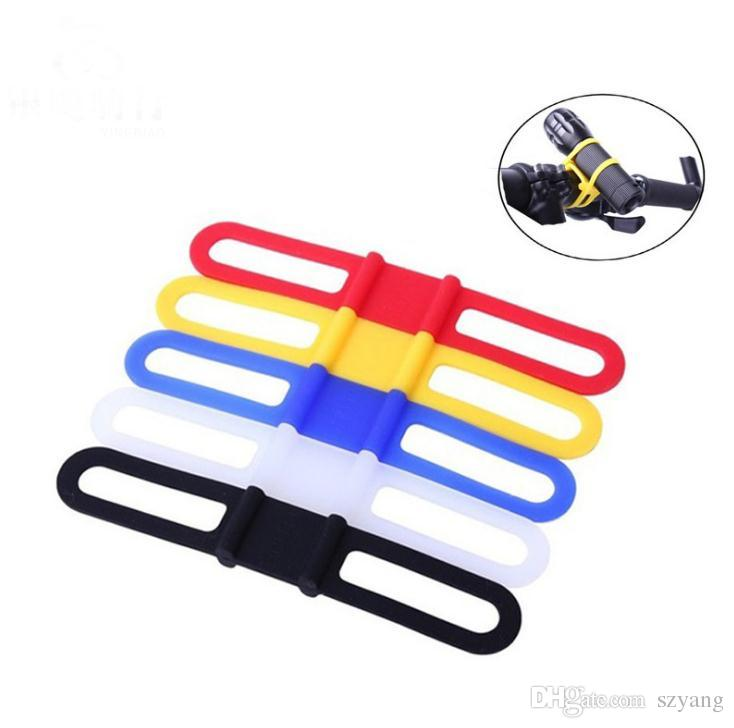 cycling bike bicycle silicone elastic bind strap mount holder for lights phone