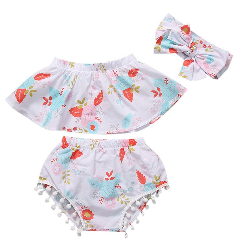 Hot sell Summer 3PCs Newborn Clothes Baby Girls Floral Off Shoulder Tops Vest+Short Pants Briefs Outfits Girl Clothes 0-24M