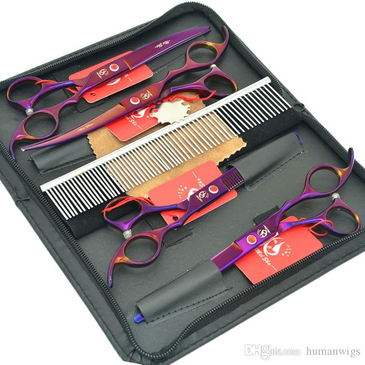 7.0Inch Meisha Japan 440c Purple Pet Grooming Shears Set Big Cutting Scissors Thinning Clippers Curved Tijeras Puppy Supplies HB0108