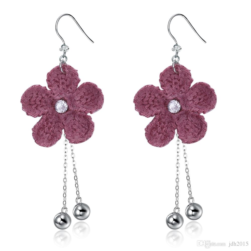 Womens Crystal CZ Flower with Beads Tassel Fringe Dangle Earrings S925 French Hook