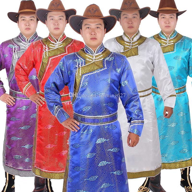 Ropa étnica del traje de boda para hombres de largo mongolia ropas de estilo chino nacional de la etapa de la etapa de desgaste masculino de disfraces de carnaval