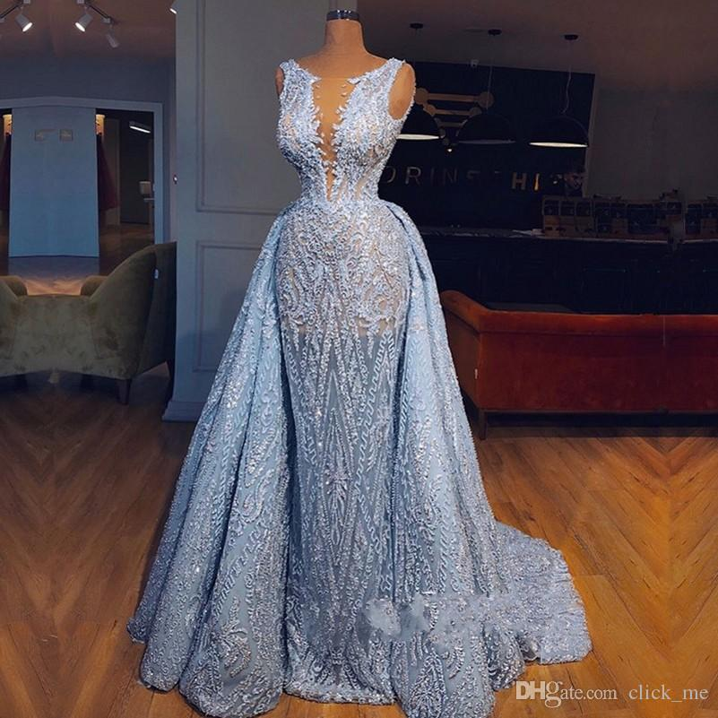 Light Blue Overskirts Prom Dresses Jewel Sheer Neck Sleeveless Sheath Evening Dress Appliques Lace Cocktail Party Gowns Formal Wear