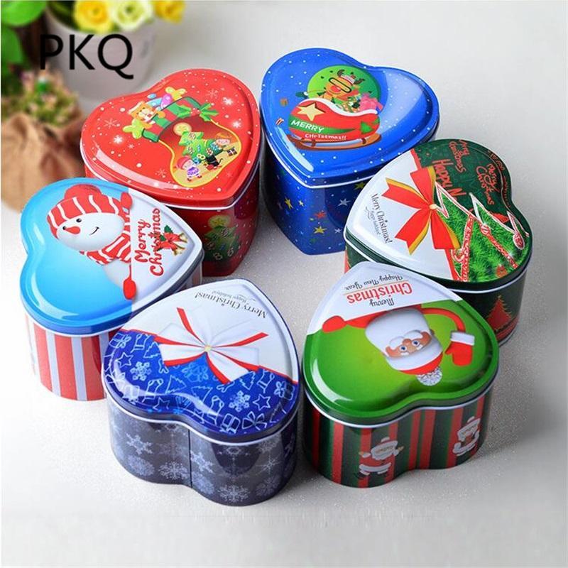 6 x 6 colori misti scatola di latta a forma di latta piccole lattine di stoccaggio per bambini confezione regalo di natale scatola di caramelle in metallo regalo di Natale 10/8