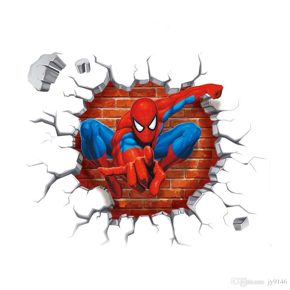 DIY Cartoon Spiderman Wall Decals PVC Eco-friendly Posters The Avengers Wall Stickers Kids Room Wall Decor