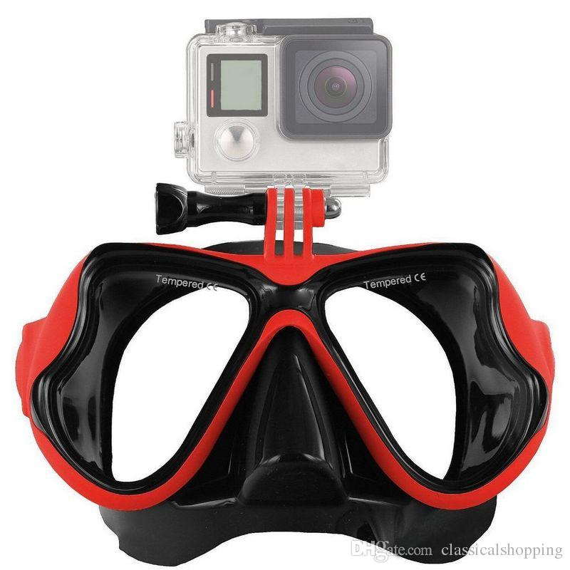 Go pro SJ CAM sport camera Diving Mask Silicon Scuba Diving Mask With Clear Tempered Glass Top Snorkel Mask For Adult Diving