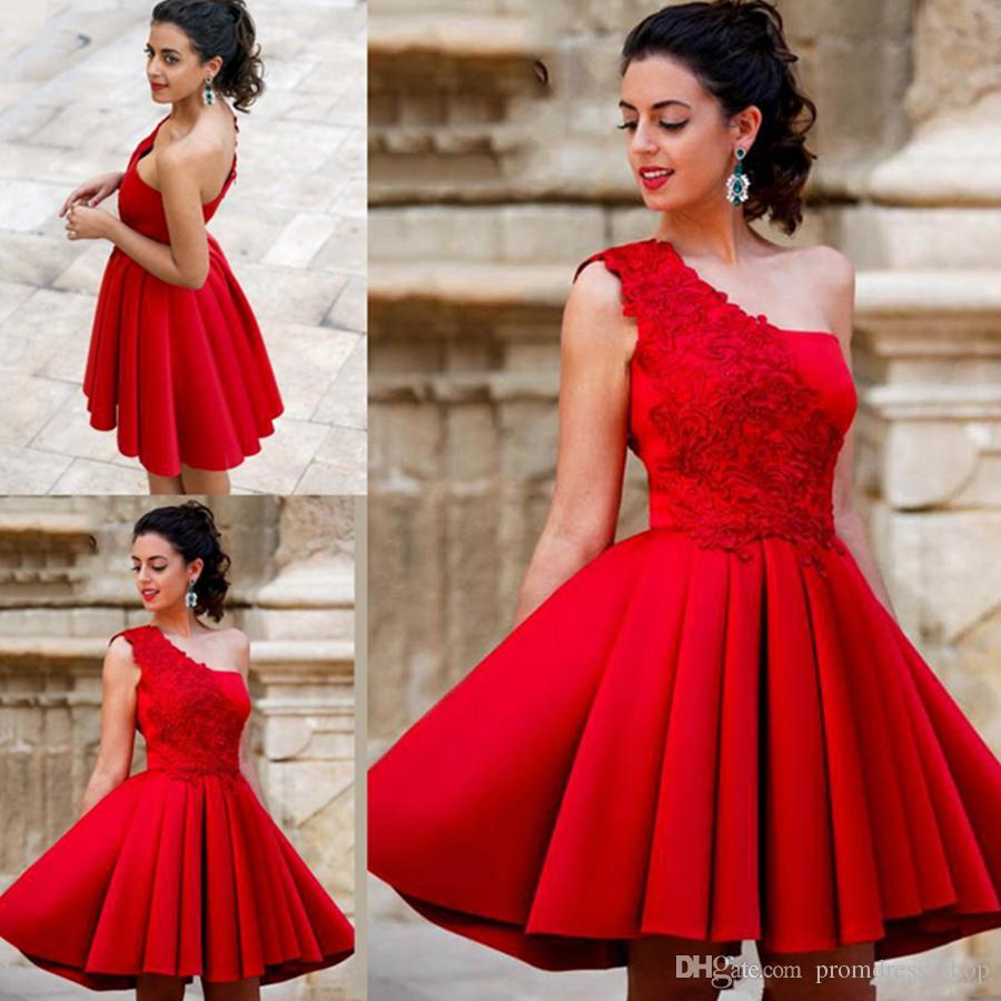 Free Shipping New Arrival Red Mini Short A Line Homecoming Dresses One Shoulder Beautiful Satin Graduation Party Dresses Sweet 16 Dresses