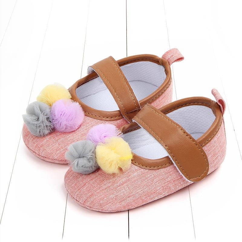 Sevimli top bebek bebek ayakkabı yumuşak alt nefes bez alt toddler ayakkabı