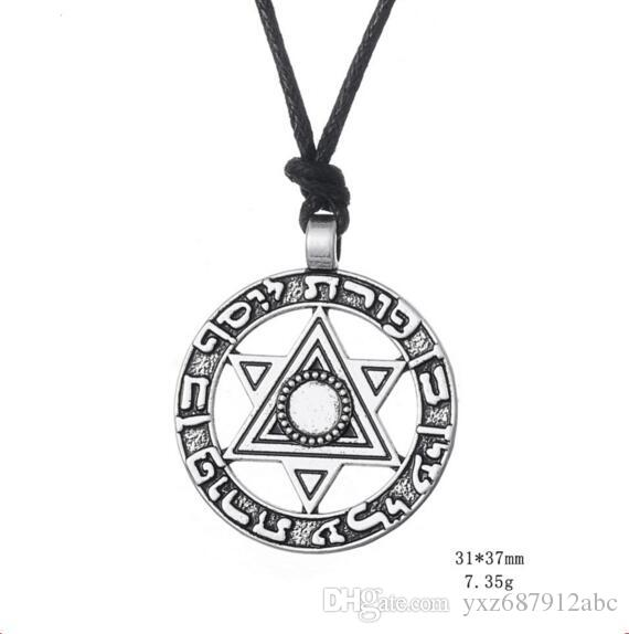 Norse Viking jewelry Star Of David Hexagram Pendant Judaism Power Of The King Amulet Necklace England Fashion Jewelry