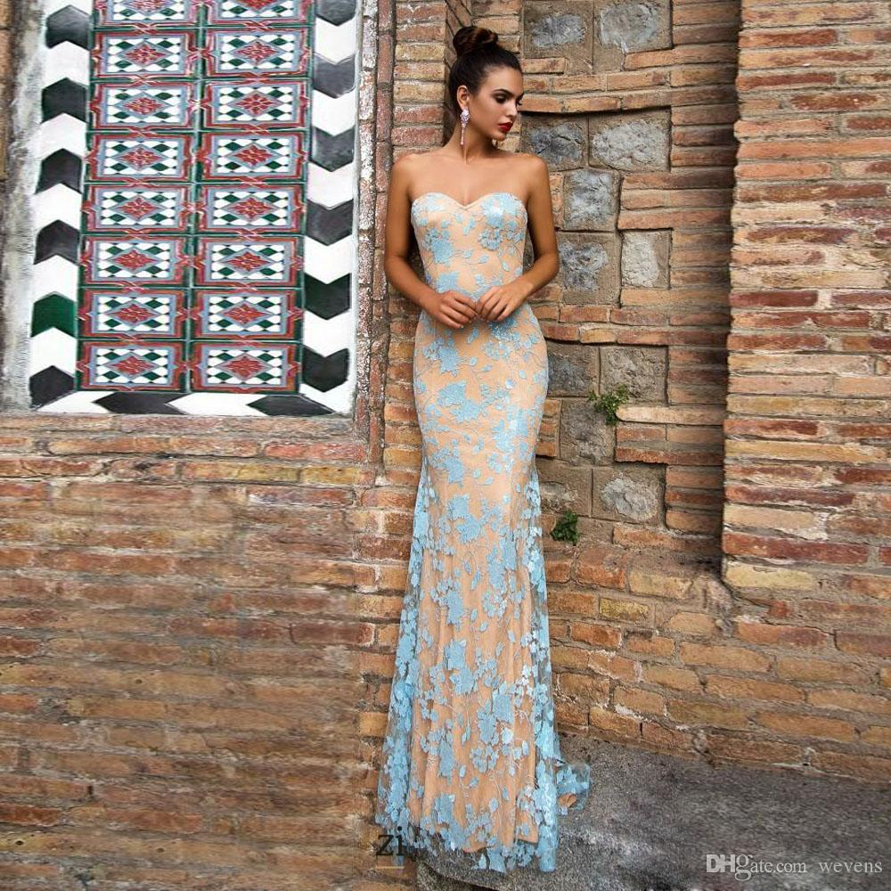 Light Blue Mermaid Evening Dresses with Detachable Train Sweetheart Lace Satin Court Train Evening Wear Champagne Lining Evening Gown