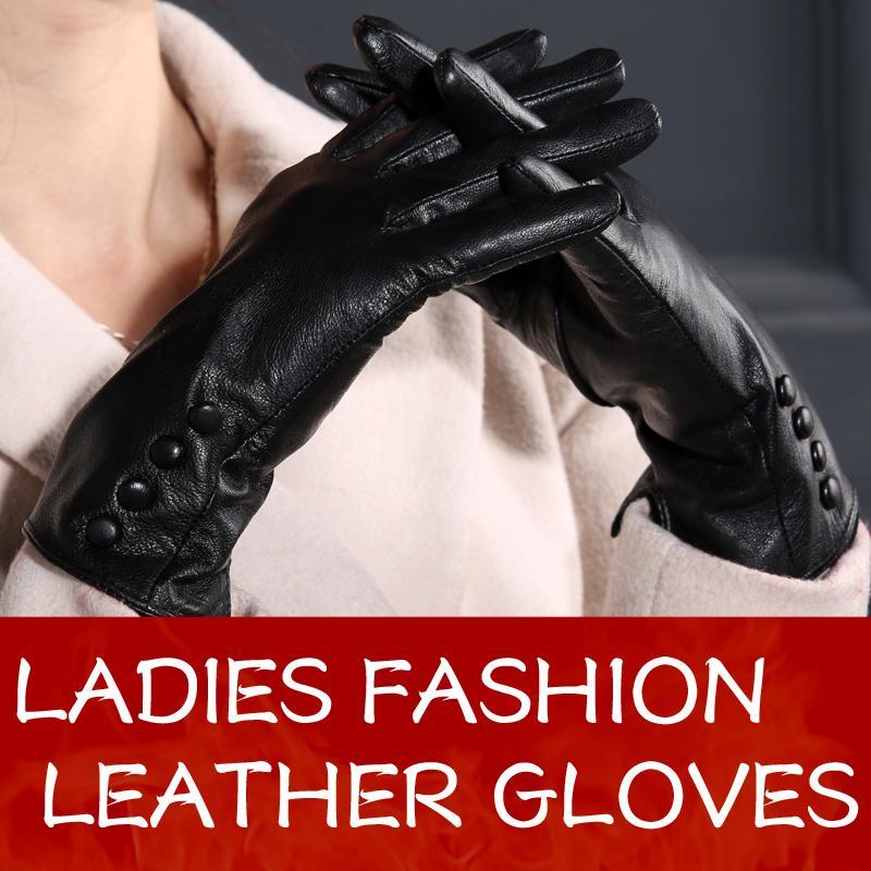 Guanti in pelle nera di buona qualità per donna