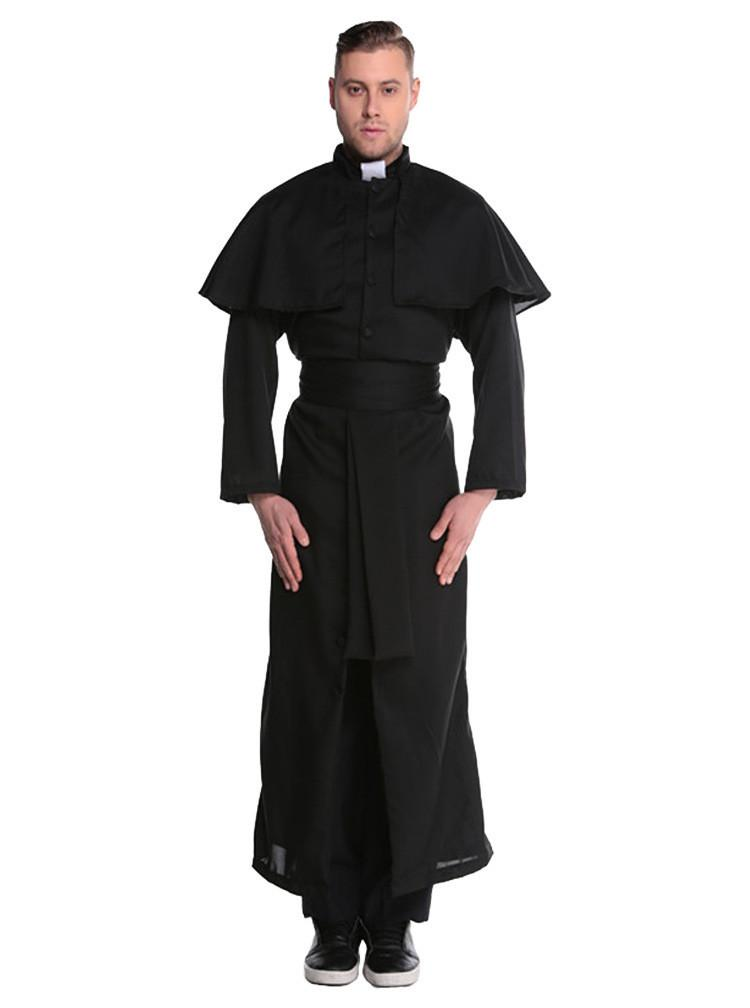 Mittelalterliche Kostüm Renaissance Mönch Priester Kleidung Männer Gott Vater Missionar Roben Kleidung Halloween Party Nonne Kostüm Sets