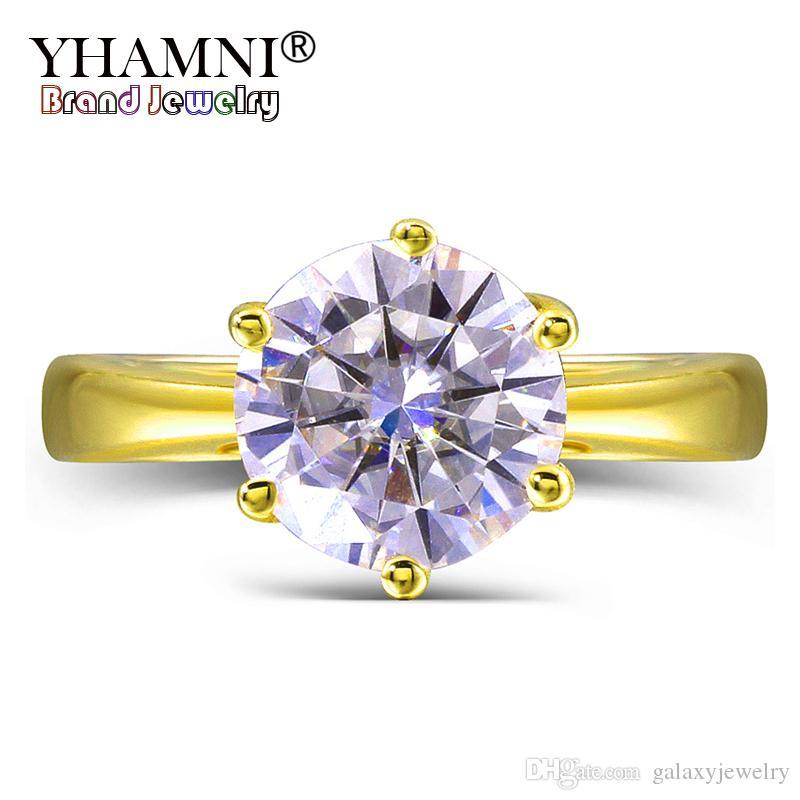 YHAMNI Original 2 Ct 6mm Runde CZ Diamant Solide Gelbgold Ringe Anillos Gold Farbe Hochzeit Ringe für Frauen Geschenk LYR169
