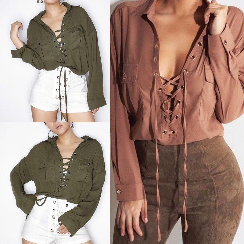 Novo Exército Verde / Marrom Mulheres Blusa Camisa de Manga Longa Casual Algodão Solto Tops Blusa Tiras de Bolso Turn-down Collar