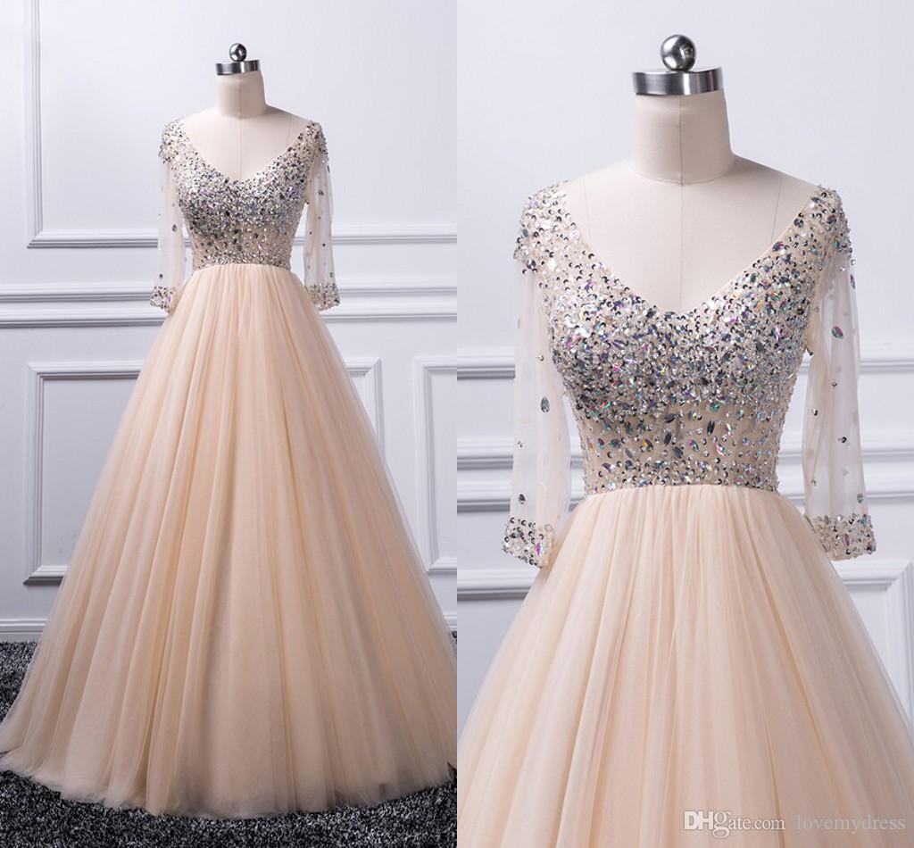 Cintura império A linha Prom Dress Champagne V-neck Sheer manga comprida cristal frisado drapeado graduação vestido de noite vestidos de Imagem Real Formal