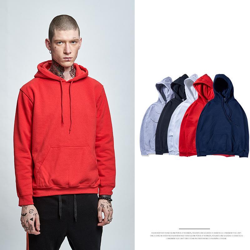 새로운 남자의 간단한 색상 플러스 벨벳 남성 긴 소매 남자의 후드가 끈으로 묶은 따뜻한 편안한 스웨터
