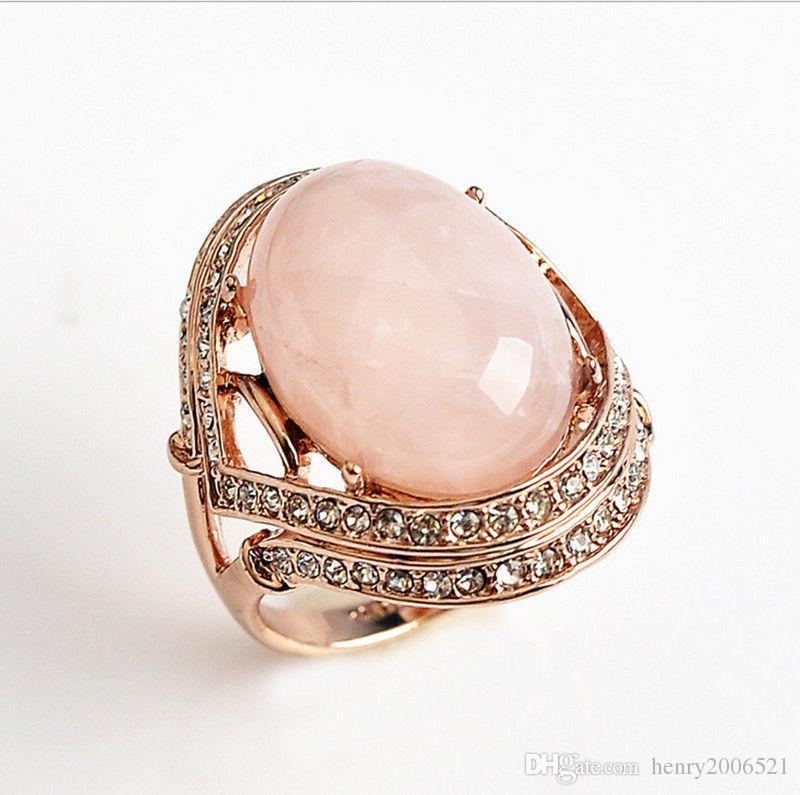 Genuine Rose Gold Rose Quartz Engagement Eternity Ring size 9