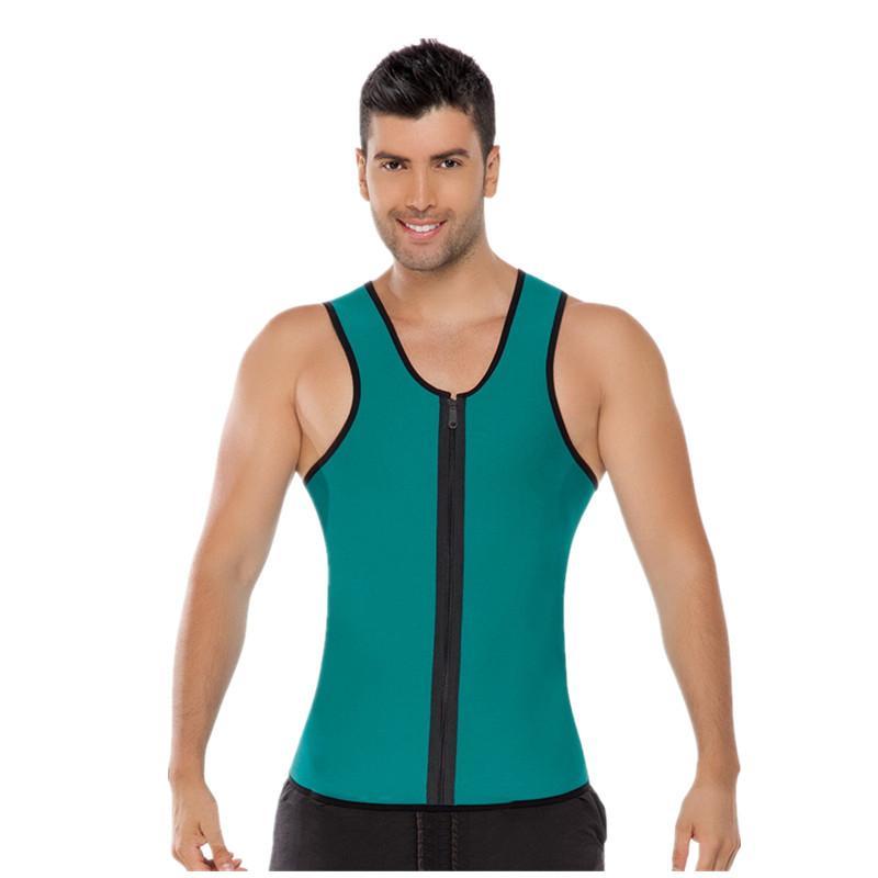 내부 roupa 남성 남성 녹색 라텍스 지퍼 무게 조끼 몸 셰이퍼 착용 플러스 크기 2XL 남성 바디 수트 코르셋