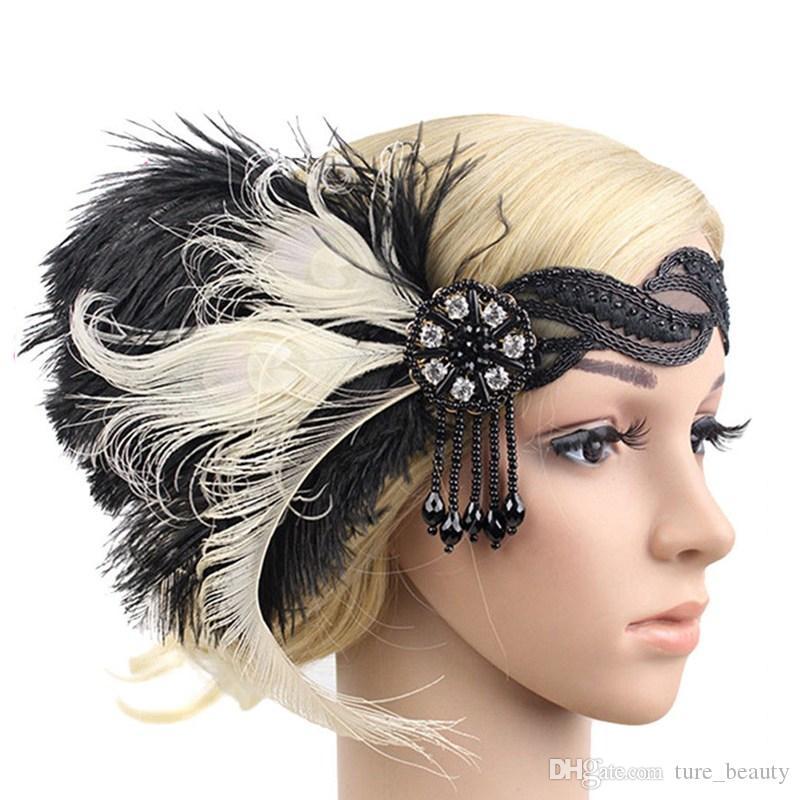 3pcs/lot Women Feather Hairband 1920s Headband Spring Summer Ladies Wedding Bridal Gatsby Flapper Headpiece Elastic Strap Hair Accessorie