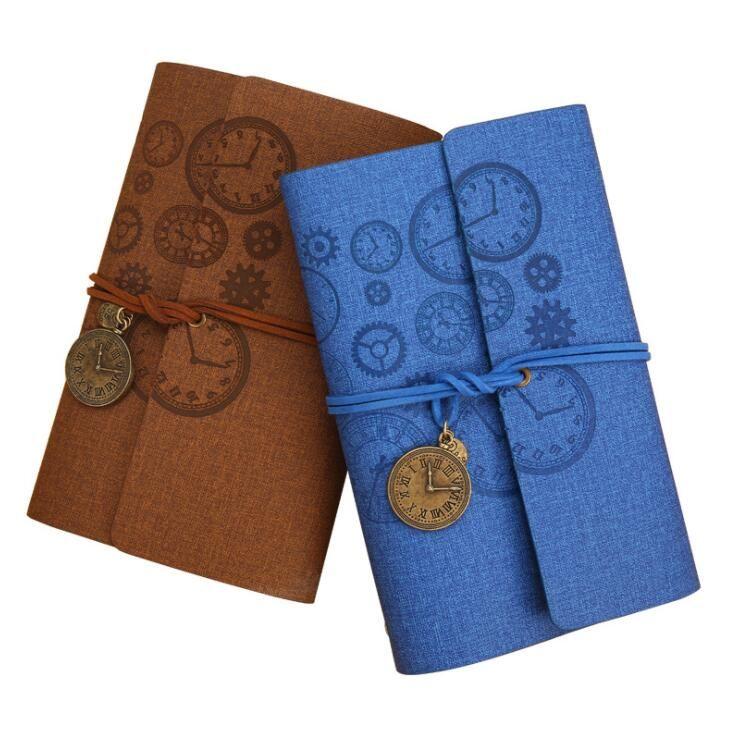 couverture en cuir souple lâche main livres mode mode entreprise bureau école fournisseur étudiant bloc-notes avec horloge pendentif journal cahiers