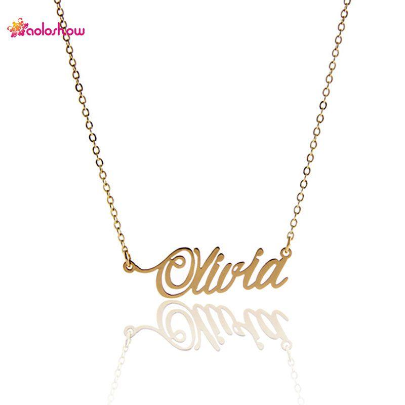 """18k vergoldete Namenskette aus Edelstahl für Frauen personalisierte """"olivia"""" Customized Namensschild Halskette zum Valentinstag, NL-2420"""