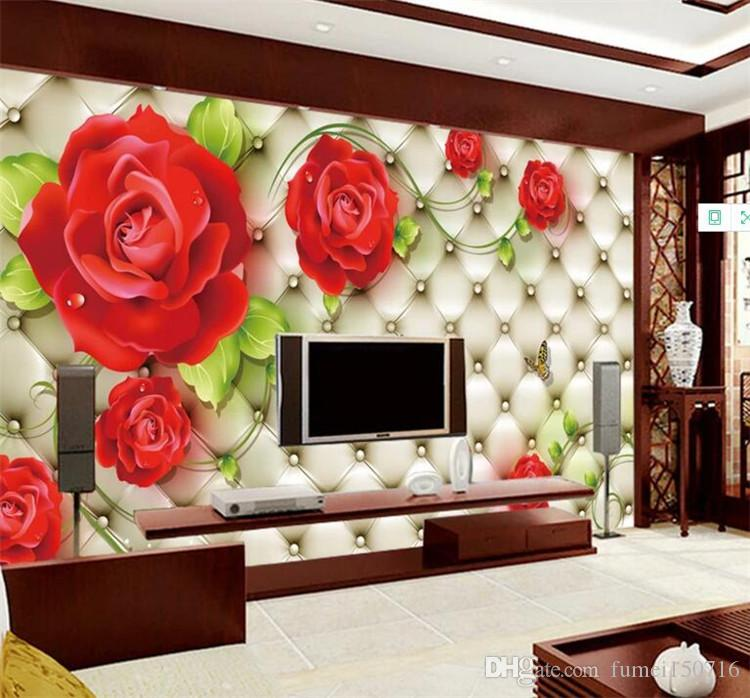 Custom Classic Photo Wallpaper 3D Embossed Soft Pack Red Rose Beautiful Flower Mural Living Room Wedding House Home Decor Fresco