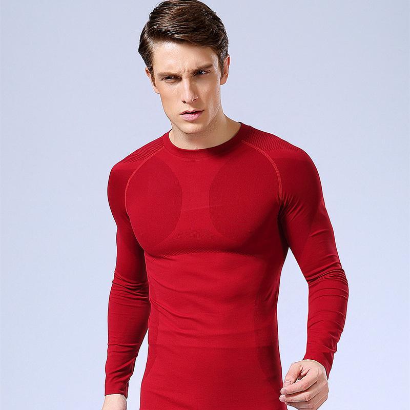 Erkek Spor Uzun Kollu T Shirt Tabanlı İç Erkekler Vücut Geliştirme Cilt Sıkı Termal Sıkıştırma Gömlek Egzersiz Üst
