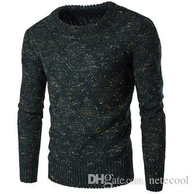 Теплый свитер мужской утолщение пуловер свитер мужской о-образным вырезом цвета Dot Slim Fit вязание мужские свитера мужской пуловер мужчины 2XL высокое качество