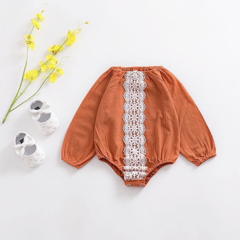 아기 소녀 의류 장난 꾸러기 레이스 디자인 긴 소매 노란색 아기 romper 100 % 목화 라운드 칼라 봄 가을 편안한 여자 장난 꾸러기
