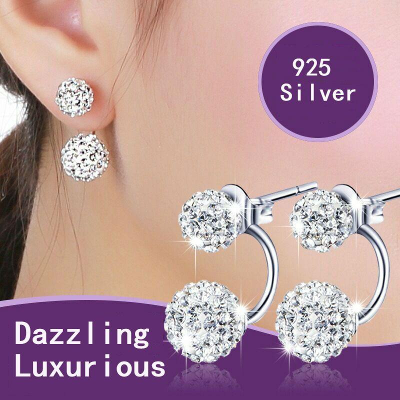 Hote sale High quality Double sided Shambala Ball Stud Earrings Crystal Rhinestone Earings 925 Silver plated Jewelry stud for women girls