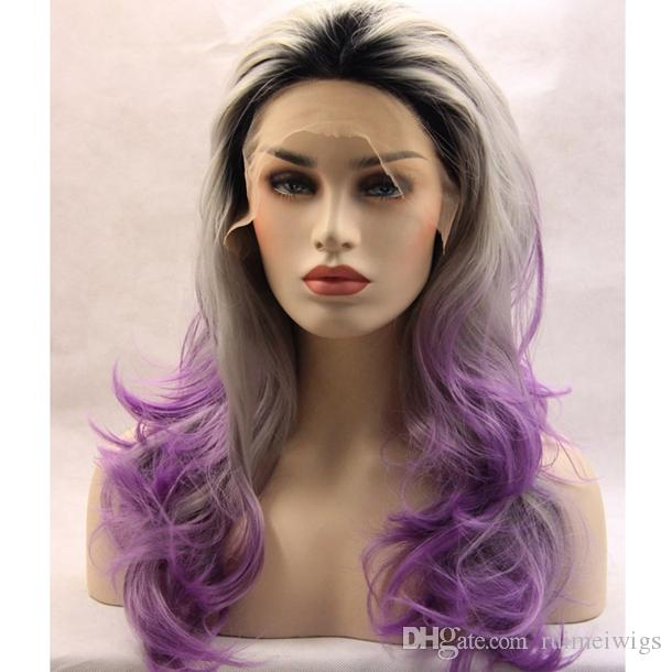 Black/ Grey/ Light Purple Colors Ombre Synthetic Lace Front Wigs Glueless Kanekalon Heat Resistant Natural Wave Lace Front Party Wigs