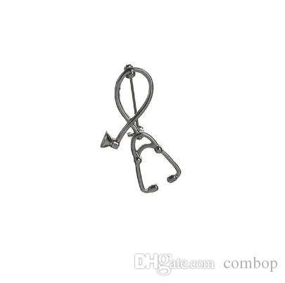 Spille di stile 2 di alta qualità Medico infermiera Stetoscopio Spilla Gioielli medici Smalto Pin Denim Jacket Collar Badge Pins Button