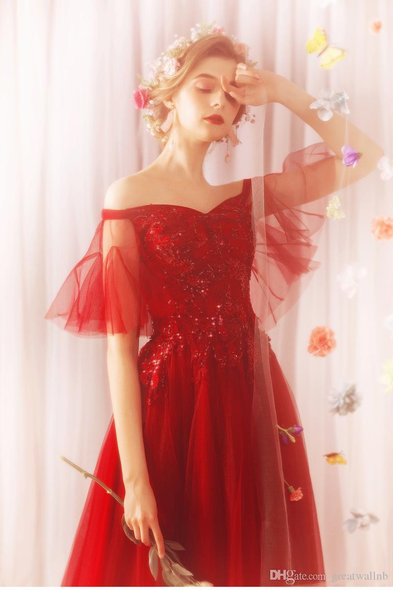 großhandel 100 echte rote msticke, die meerjungfrau Ärmel ballkleid  mittelalterliches kleid renaissance kleid sissi prinzessin kleid  viktorianischen