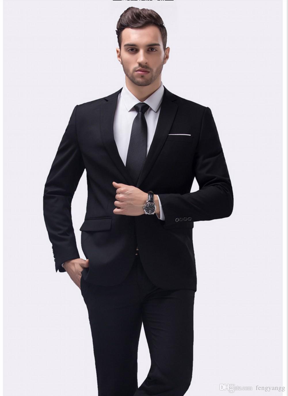 رجال الأعمال عارضة الدعاوى اثنين من زر 2 قطعة (سترة + سروال) حقق ذوي الياقات البيضاء حقق تريم تناسب الدعاوى لحفل زفاف عشاء البدلات الرسمية