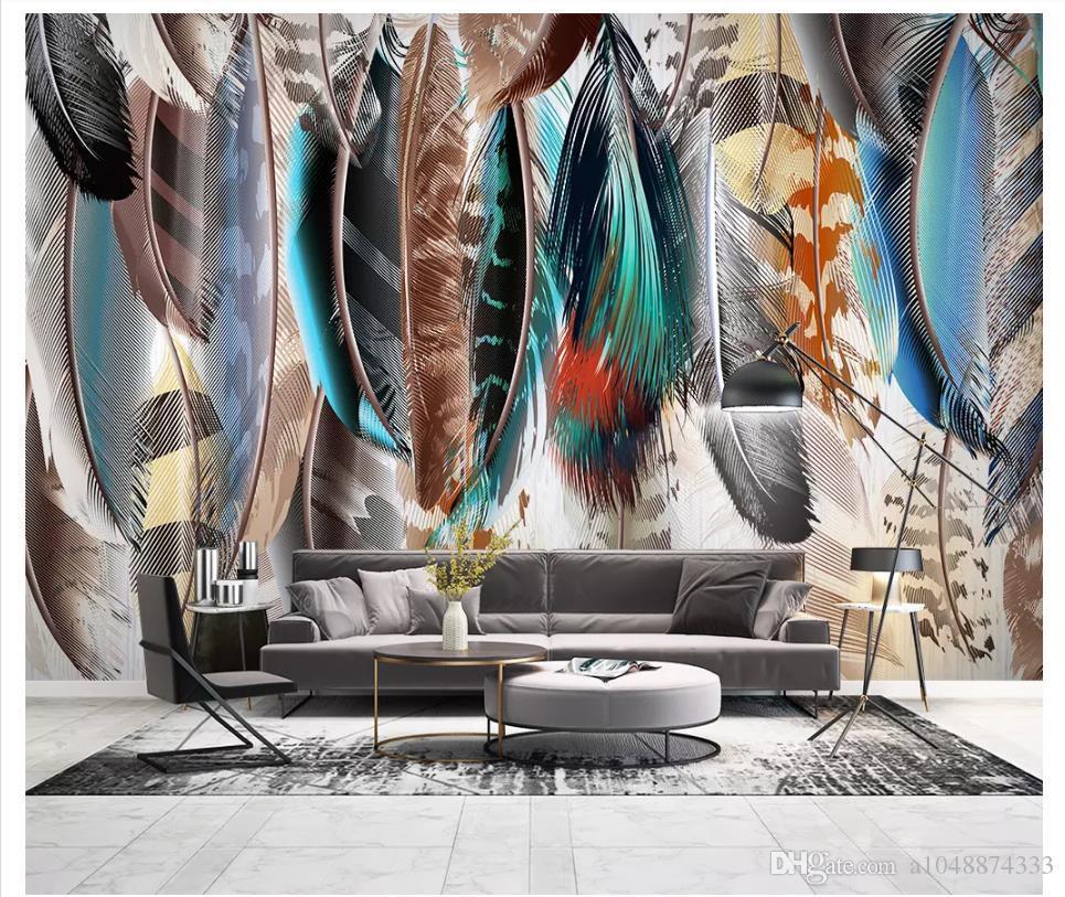 Großhandel-Customized Foto Wandbild Tapete Moderne minimalistische Hand gezeichnete bunte Federn Hintergrundbild für Wände für Dekor