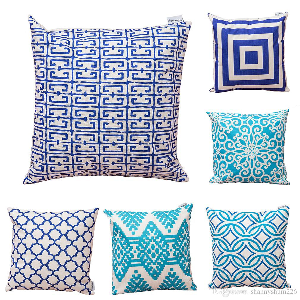 Set of 6 Novelty Geometric Waterproof Cotton Linen Square Decorative Throw Pillow Cases Sofa Cushion Covers (18*18Inch)